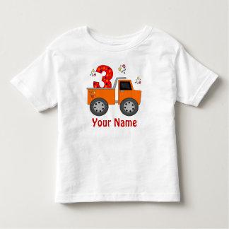3ro Camiseta personalizada camión del cumpleaños Playera