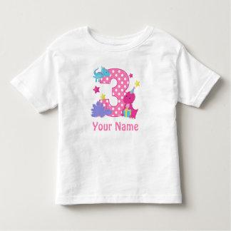 3ro Camiseta personalizada dinosaurio del chica