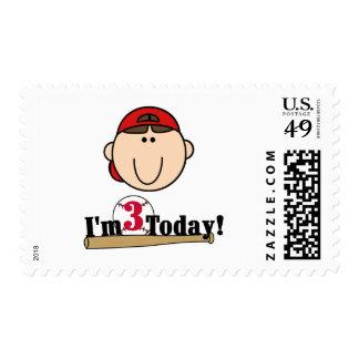 3ro camisetas del cumpleaños del béisbol trigueno timbres postales