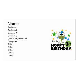 3ro camisetas y regalos del cumpleaños de la rana tarjetas de visita