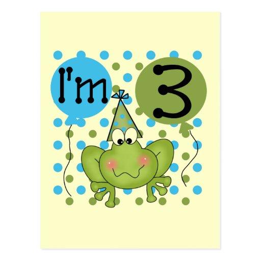 3ro camisetas y regalos del cumpleaños de la rana tarjeta postal