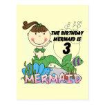 3ro camisetas y regalos del cumpleaños de la siren tarjetas postales