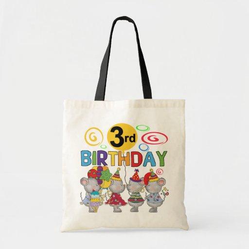 3ro camisetas y regalos del cumpleaños de los rato bolsa tela barata