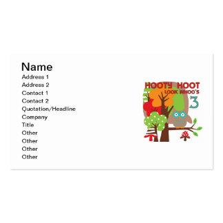 3ro camisetas y regalos del cumpleaños del búho tarjetas de visita
