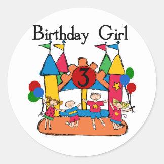 3ro camisetas y regalos del cumpleaños del chica pegatina redonda