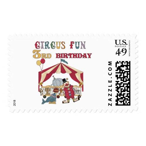 3ro camisetas y regalos del cumpleaños del circo estampilla