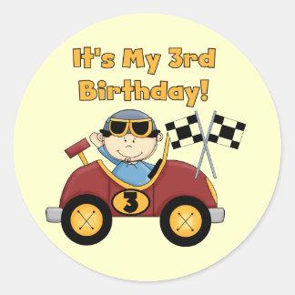 3ro camisetas y regalos del cumpleaños del coche pegatina redonda