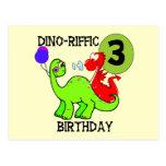 3ro camisetas y regalos del cumpleaños del dinosau postales