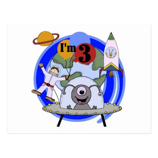 3ro camisetas y regalos del cumpleaños del espacio tarjetas postales