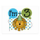 3ro camisetas y regalos del cumpleaños del león tarjeta postal