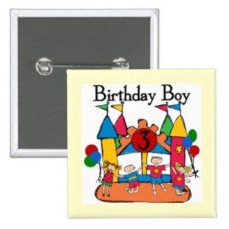 3ro camisetas y regalos del cumpleaños del muchach pin cuadrada 5 cm