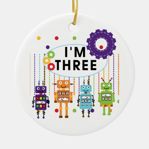 3ro camisetas y regalos del cumpleaños del robot adorno navideño redondo de cerámica