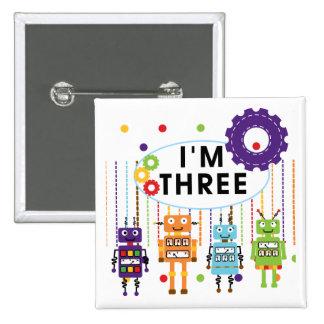 3ro camisetas y regalos del cumpleaños del robot pin