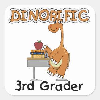 3ro camisetas y regalos del graduador de Dinorific Pegatina Cuadrada