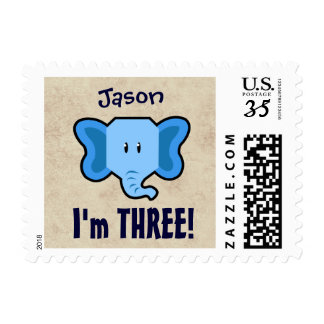 3ro Cara azul linda del elefante del cumpleaños Sellos