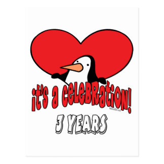 3ro celebración del pingüino tarjeta postal