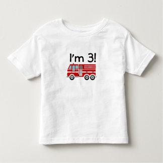 3ro Coche de bomberos del cumpleaños Playera De Bebé