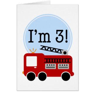 3ro Coche de bomberos del cumpleaños Felicitacion