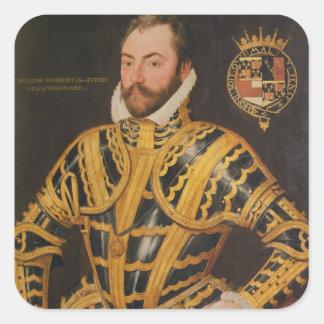 3ro conde de Guillermo Somerset de Worcester Pegatina Cuadrada