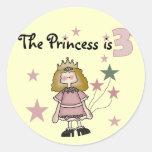 3ro cumpleaños camisetas y regalos de la princesa pegatina