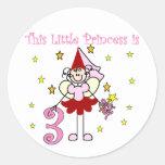 3ro cumpleaños camisetas y regalos de la princesa etiqueta redonda