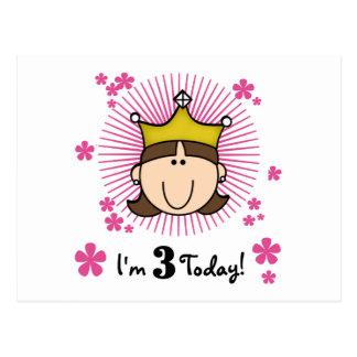 3ro cumpleaños camisetas y regalos de la princesa postales