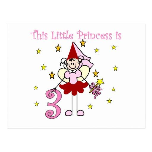 3ro cumpleaños camisetas y regalos de la princesa  tarjeta postal
