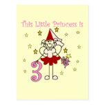 3ro cumpleaños camisetas y regalos de la princesa  postal