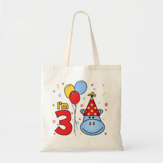 3ro cumpleaños de la cara azul del hipopótamo bolsa tela barata
