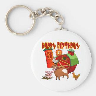 3ro Cumpleaños de la granja del cumpleaños Llavero Redondo Tipo Pin