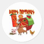 3ro Cumpleaños de la granja del cumpleaños Pegatina Redonda