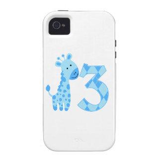 3ro cumpleaños de la jirafa azul iPhone 4/4S fundas