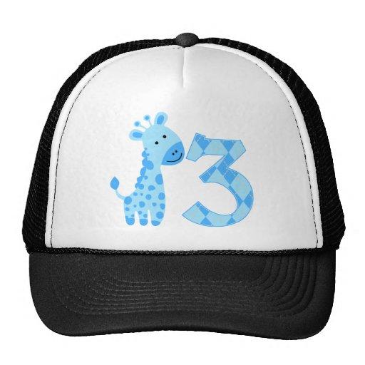 3ro cumpleaños de la jirafa azul gorra