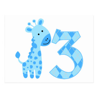 3ro cumpleaños de la jirafa azul postal