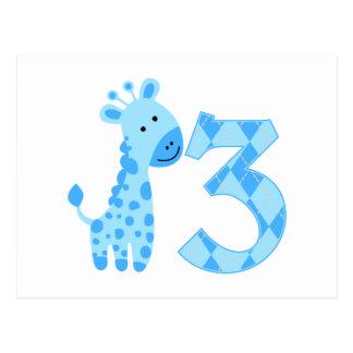 3ro cumpleaños de la jirafa azul tarjeta postal
