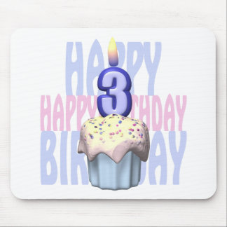 3ro Cumpleaños de la magdalena del cumpleaños Alfombrillas De Ratones