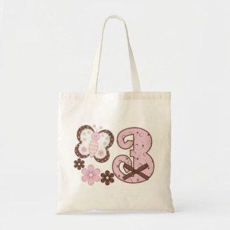 3ro cumpleaños de la mariposa rosada bolsa tela barata