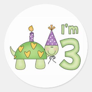 3ro cumpleaños de la pequeña tortuga etiquetas redondas