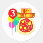 3ro Cumpleaños de la pizza del cumpleaños Etiqueta Redonda