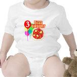 3ro Cumpleaños de la pizza del cumpleaños Camisetas