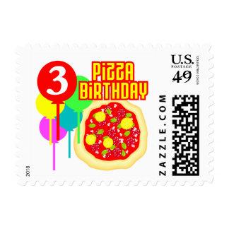3ro Cumpleaños de la pizza del cumpleaños Sellos