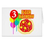3ro Cumpleaños de la pizza del cumpleaños Tarjetas
