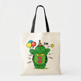 3ro cumpleaños de la tortuga feliz bolsa de mano