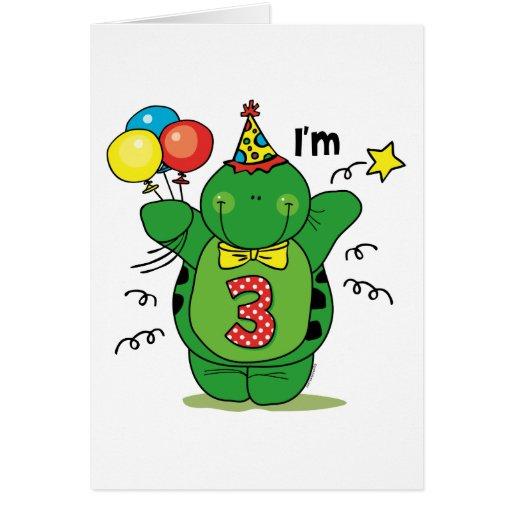 3ro cumpleaños de la tortuga feliz tarjeta de felicitación