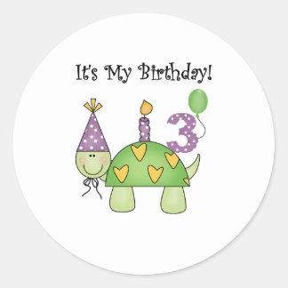 3ro cumpleaños de la tortuga pegatinas redondas