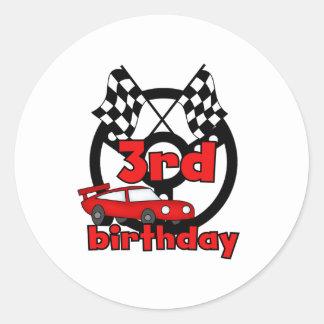 3ro cumpleaños de las carreras de coches pegatina redonda