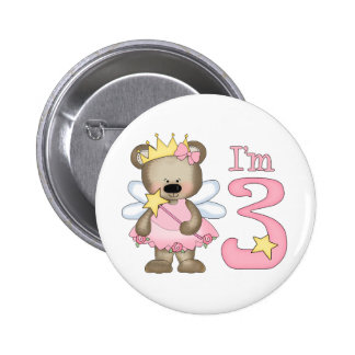 3ro cumpleaños de princesa Bear Pin Redondo De 2 Pulgadas