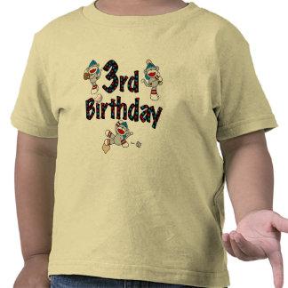 3ro Cumpleaños del béisbol del mono del calcetín Camiseta
