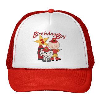 3ro cumpleaños del bombero del cumpleaños de los m gorros