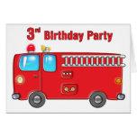 3ro cumpleaños del coche de bomberos fabuloso felicitación